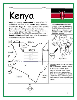 KENYA - printable handout with map and flag