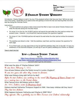 KEY- Charles Dickens and a Christmas Carol Webquest
