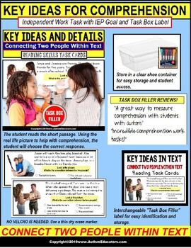 """KEY IDEAS in Text Reading Comprehension Task Cards """"Task Box Filler"""" for Autism"""