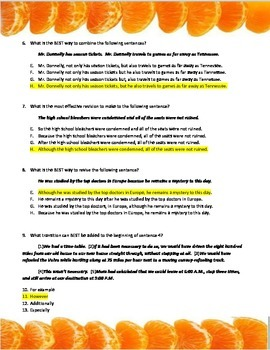 KEY: SpringBoard Unit Three Grammar Quiz using Tangerine (Bloor)