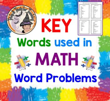 KEY Words Used in Math Word Problems Chart Add Subtract Multiply Divide