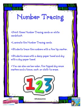 Printing: Number Formation Tracing Cards: Writing TK , K, 1st, special education