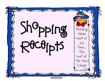 Shopping Receipts: Common Core math SNOWMAN, HALLOWEEN, ST PATRICK LEPRECHAUN