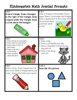 KG.1-KG-6 Common Core Aligned Kindergarten Math Journal Prompts:  36 IN ALL!