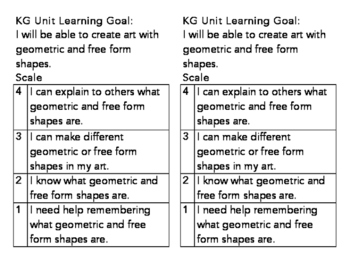 KG Geometric and Free Form Shapes Learning Goal and Scale