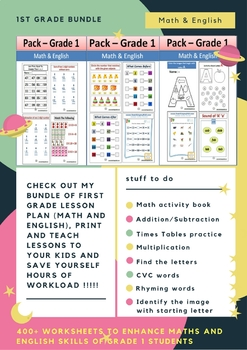 First Grade lesson plan (Math and English Bundle) by Teachingmykid
