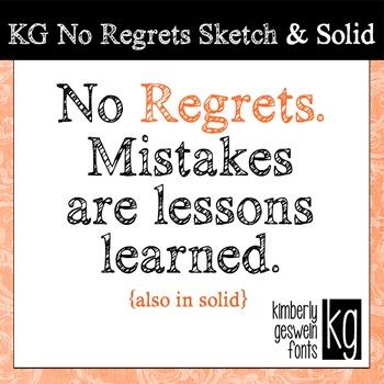 KG No Regrets Font: Personal Use
