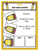 KG Pencil Sight Word Tracing Cards & Trace It, Build It, W