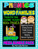 The ULTIMATE PHONICS and WORD FAMILIES Mega BUNDLE 600+ pages, Ccss aligned