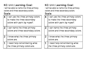 KG Primary Colors Learning Goal and Scale