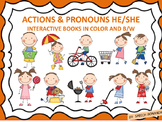Speech Therapy KID ACTIONS/PRONOUNS Interactive books- (Color and Take-home B&W)