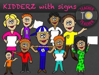 KIDDERZ with signs - KIDS clipart {TeacherToTeacher Clipart}