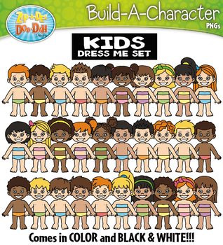 BLANK BODY Build A Kid Character Clipart {Zip-A-Dee-Doo-Dah Designs}