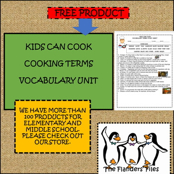 KIDS CAN COOK VOCABULARY TERMS UNIT COOKING TERMS