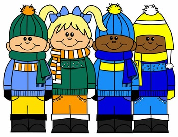 KIDS CLIP ART * JANUARY CLIP ART * COLOR AND BLACK AND WHITE