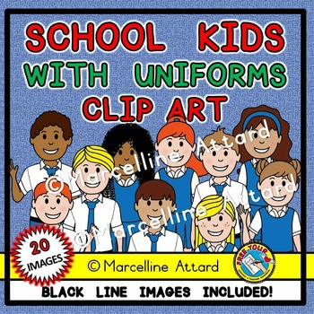 SCHOOL KIDS CLIPART: KIDS IN UNIFORM CLIPART: BACK TO SCHOOL CLIPART: STUDENTS