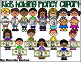 KIDS HOLDING MONEY CLIPART