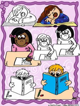 KIDS IN CLASS (clip art by Happy Markers)