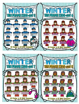 KIDS TEN FRAMES- WINTER EDITION- MEGA BUNDLE PACK-242 IMAGES- COMMERICAL USE
