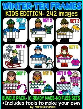 KIDS TEN FRAMES- WINTER EDITION- MEGA BUNDLE PACK-242 IMAG