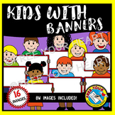 CLIPART KIDS: CHILDREN WITH BANNERS CLIPART: CUTE KIDS CLIPART