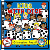 DICE KIDS CLIPART: MATH CLIPART KIDS: CHILDREN WITH DICE CLIPART