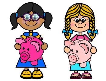 KIDS WITH PIGGY BANKS CLIP ART- KIDS HOLDING PIGGY BANKS CLIPART