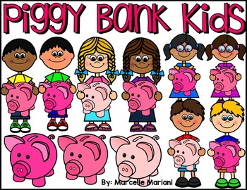 KIDS WITH PIGGY BANKS CLIP ART- KIDS HOLDING PIGGY BANKS CLIPART