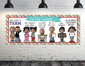 KIDS of COLOR - Classroom Decor: LARGE BANNER, In Our School - horizontal