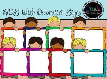 KIDS with Decorative Signs - Digital Clipart