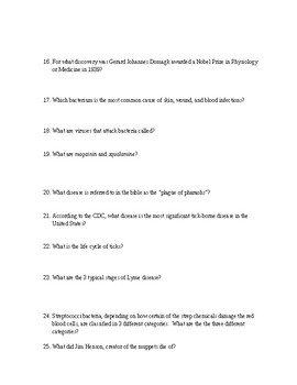 KILLER GERMS Book Questions