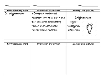 KIM vocabulary graphic organizer w/sample definition