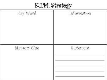 K.I.M.S Strategy -  Vocabulary Activity