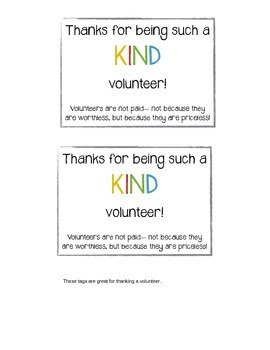 KIND Thank You Notes (volunteers, coworkers, parents, and etc)