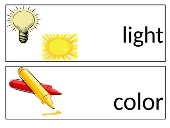 KINDER SCIENCE WORD WALL CARDS SET #2