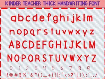 KINDER TEACHER THICK FONT
