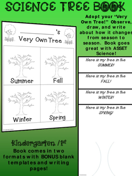 KINDERGARTEN 1st SCIENCE TREES BOOK Adopt a tree. Observe, draw, and write!
