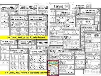 ADDITION WORKSHEETS-ADDITION WORKSHEETS FOR KINDERGARTEN- BUNDLE (1-20)