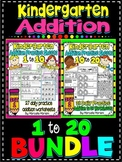 ADDITION WORKSHEETS-ADDITION WORKSHEETS FOR KINDERGARTEN- BUNDLE (1-20)