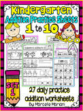 ADDITION WORKSHEETS-ADDITION WORKSHEETS FOR KINDERGARTEN (1-10)