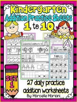 ADDITION WORKSHEETS-ADDITION WORKSHEETS FOR KINDERGARTEN (1-10)