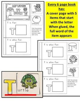 ALPHABET LETTER BOOKS- Color, cut & paste alphabet books (KINDERGARTEN)