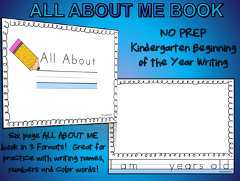 ALL ABOUT ME Kindergarten Beginning of the Year WRITING BO