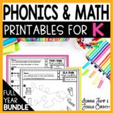 KINDERGARTEN Math and Reading Worksheets Bundle