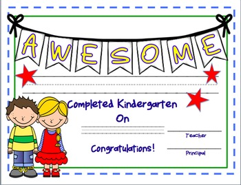 Kindergarten Certificate--End of Year--Editable