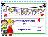 Kindergarten Certificate--End of Year--Editable