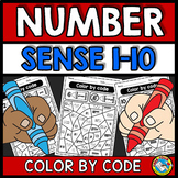 KINDERGARTEN COLOR BY NUMBER SENSE WORKSHEETS 1-10