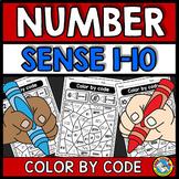 COLOR BY NUMBER SENSE WORKSHEETS 1-10 SUBITIZING KINDERGARTEN COLORING PAGES