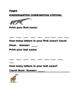 KINDERGARTEN COMBINATION PROJECT