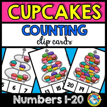 KINDERGARTEN COUNTING CENTER (CUPCAKES COUNTING CLIP CARDS) NUMBERS 1-20